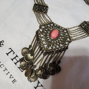 Vintage bib coin necklace